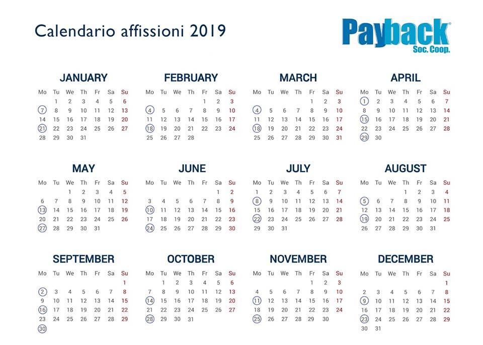 Calendario Pubblicitario per Affissioni